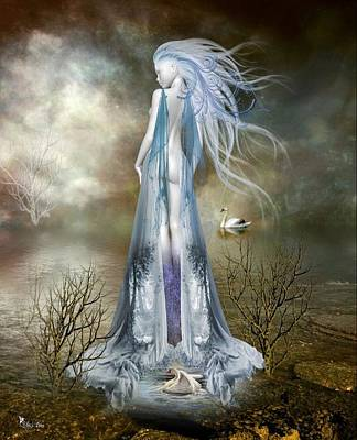 Digital Art - Lady Of The Misted Waters by Ali Oppy