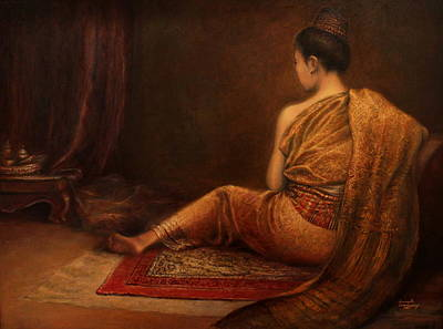 Laos Painting - Lady Of The Palace by Sompaseuth Chounlamany