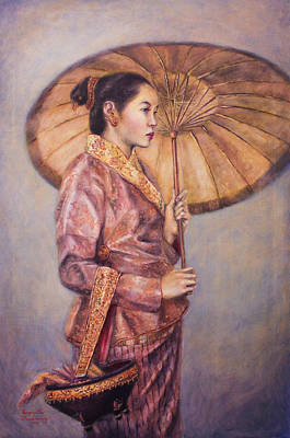 Laos Painting - Lady Of The Royal Court by Sompaseuth Chounlamany