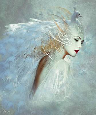 Lady Of The White Feathers Art Print