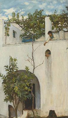 Painting - Lady On A Balcony, Capri by John William Waterhouse