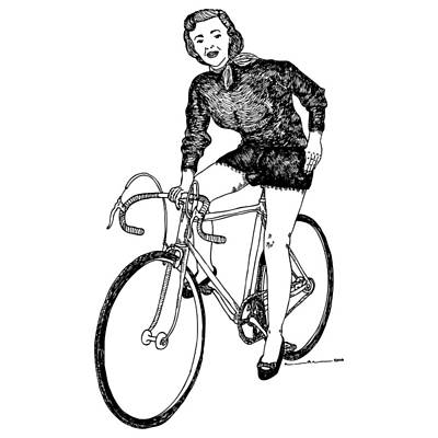 Bike Drawing - Lady On A Bicycle by Karl Addison