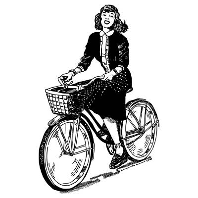 Bicycle Drawing - Lady On A Bike by Karl Addison