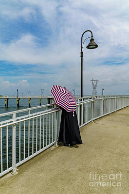 Photograph - Lady On Pier - Color Version by Kathleen K Parker
