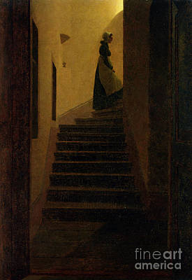 Staircase Painting - Lady On The Staircase by MotionAge Designs