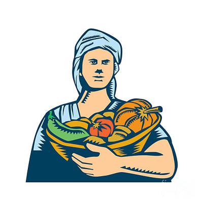 Lady Organic Farmer Produce Harvest Woodcut Art Print by Aloysius Patrimonio