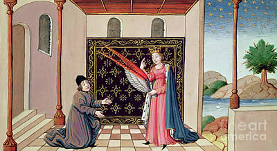 Free Will Drawing - Lady Philosophy Offers To Boethius The Wings That Will Enable His Mind To Fly Aloft  by French School