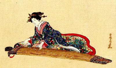 Lady Playing Koto 1878 Art Print by Padre Art