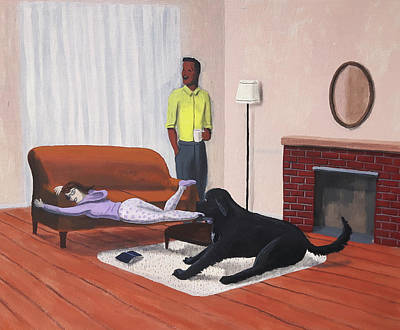Painting - Lady Pulling Mommy Off The Couch by Dave Rheaume