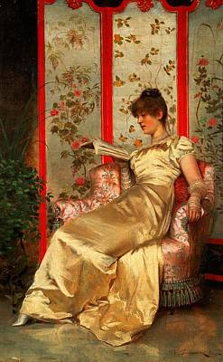 Novel Painting - Lady Reading by Joseph Frederick Charles Soulacroix
