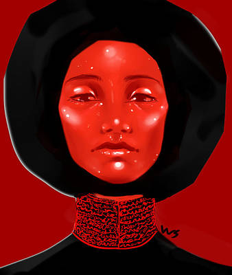 Digital Art - Lady Red by Willow Schafer