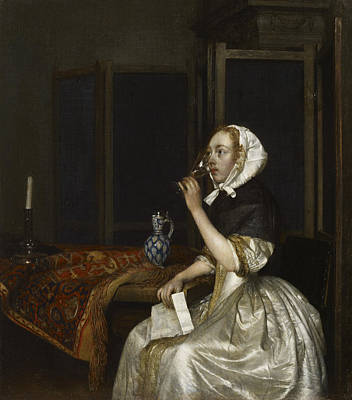 Painting - Lady Seated Holding A Wineglass by Gerard ter Borch