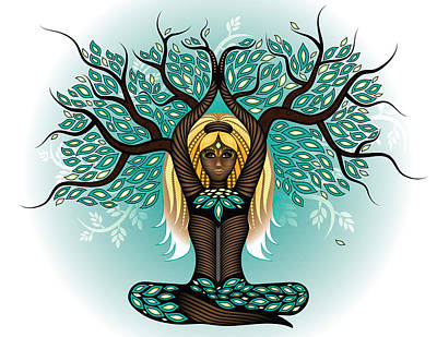 Digital Art - Lady Shaman Tree by Serena King