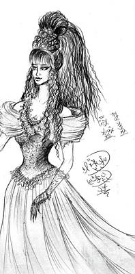 Super Girl Drawing - Lady Sofia Goldberg. Exotic Hairstyle 19 by Sofia Metal Queen