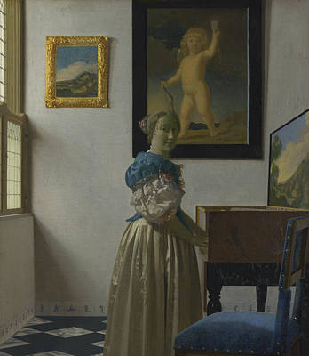 Painting - Lady Standing At A Virginal by Jan Vermeer