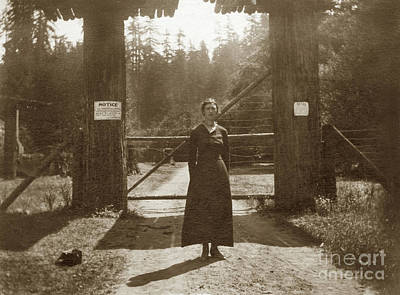 Photograph - Lady Standing On Front Of Gate To Bohemian Grove Circa 1920 by California Views Mr Pat Hathaway Archives