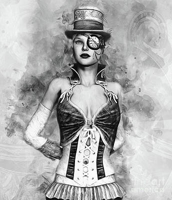 Digital Art - Lady Steampunk by Ian Mitchell