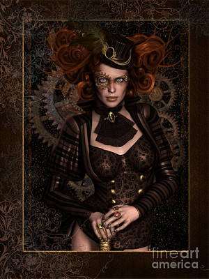 Old-fashioned Digital Art - Lady Steampunk by Shanina Conway
