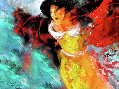 Painting - Lady Sybil Fleeing From Downton Abbey by Miki De Goodaboom