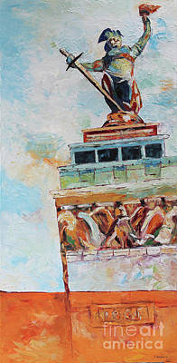 Monument Circle Painting - Lady Victory by Charles Horsman