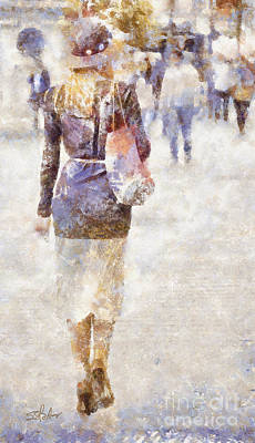 Lady Walking Art Print by Shirley Stalter