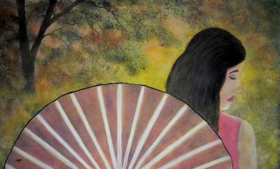 Oneself Painting - Lady With A Fan by Edwin Alverio