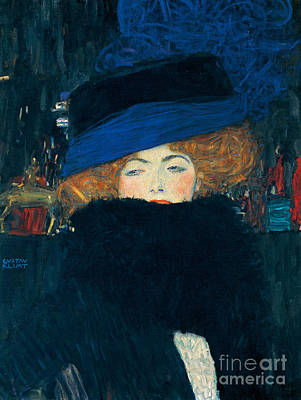 Woman With Black Hair Painting - Lady With A Hat And A Feather Boa by Gustav Klimt