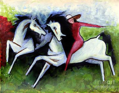 Lady With Horses Art Print by Masoud Farshchi