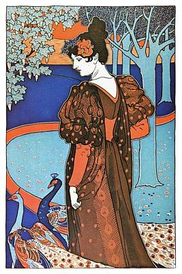 Mixed Media - Lady With A Pair Of Peacock Birds  In A Garden - Vintage Art Nouveau Poster - Blue by Studio Grafiikka