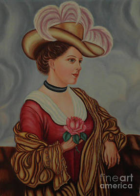 Lady With A Pink Rose Art Print by Margit Armbrust