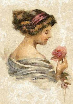 Digital Art - Lady With A Rose by Charmaine Zoe