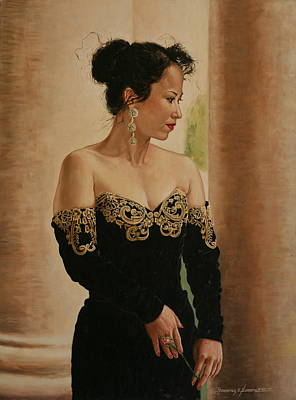 Painting - Lady With A Rose by Rosencruz  Sumera