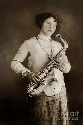 Photograph - Lady With A Saxophone Musical Instruments by California Views Mr Pat Hathaway Archives