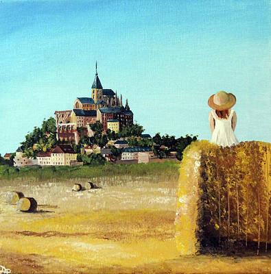 Lady With A View - Mont Saint Michel  Original by Daniela Pasqualini