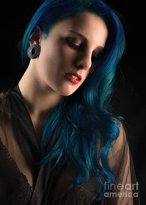 Femme Fatale Photograph - Lady With Blue Hair by Amanda Elwell