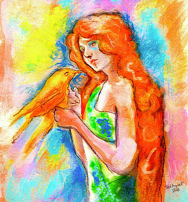 Digital Art - Lady With Canary by Ted Azriel