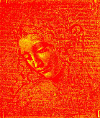 Lady In Red Drawing - Lady With Disheveled Hair 3 by Leonardo In Digital