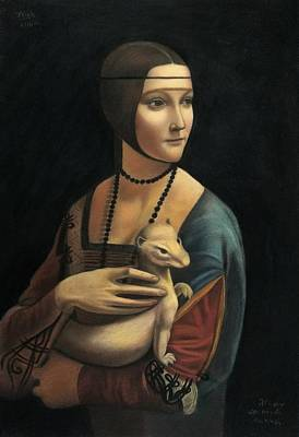 Lady With Ermine - Pastel Art Print by Vishvesh Tadsare