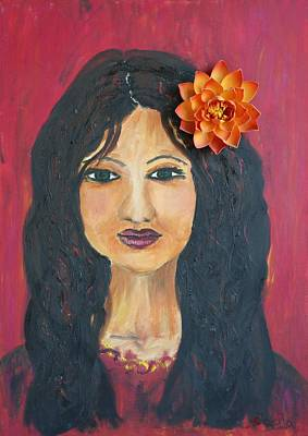 Art Print featuring the painting Lady With Flower by Sladjana Lazarevic