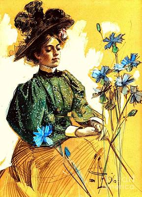 Mixed Media - Lady With Flowers 1896 by Peter Gumaer Ogden Collection