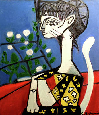 Picasso Style Painting - Lady With Flowers by Candace Behuniak