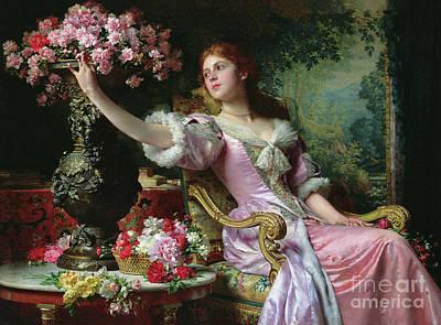 Furniture Painting - Lady With Flowers by Ladislaw von Czachorski