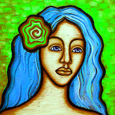 Lady With Green Flower Art Print by Brenda Higginson