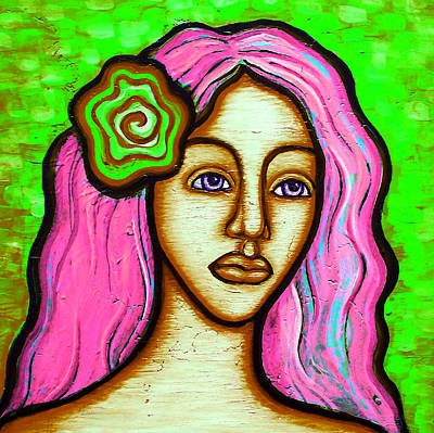 Painting - Lady With Green Flower-pink by Brenda Higginson