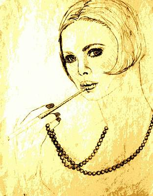 Long Necklace Drawing - Lady With Pearl Necklace by Sheri Buchheit