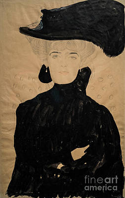 Drawing - Lady With Plumed Hat by Gustav Klimt