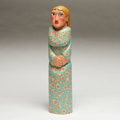 Folk Art Woodcarving Painting - Lady With The Blue Dress On by James Neill