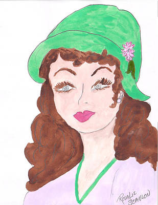 Lady With The Green Hat Art Print by Rosalie Scanlon