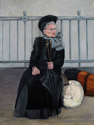 Ellis Island Painting - Lady With Two Umbrellas by Sandra Nardone