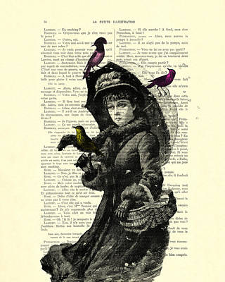 Lady With Umbrella In Winter Landscape Print On Old Book Page Art Print by Madame Memento